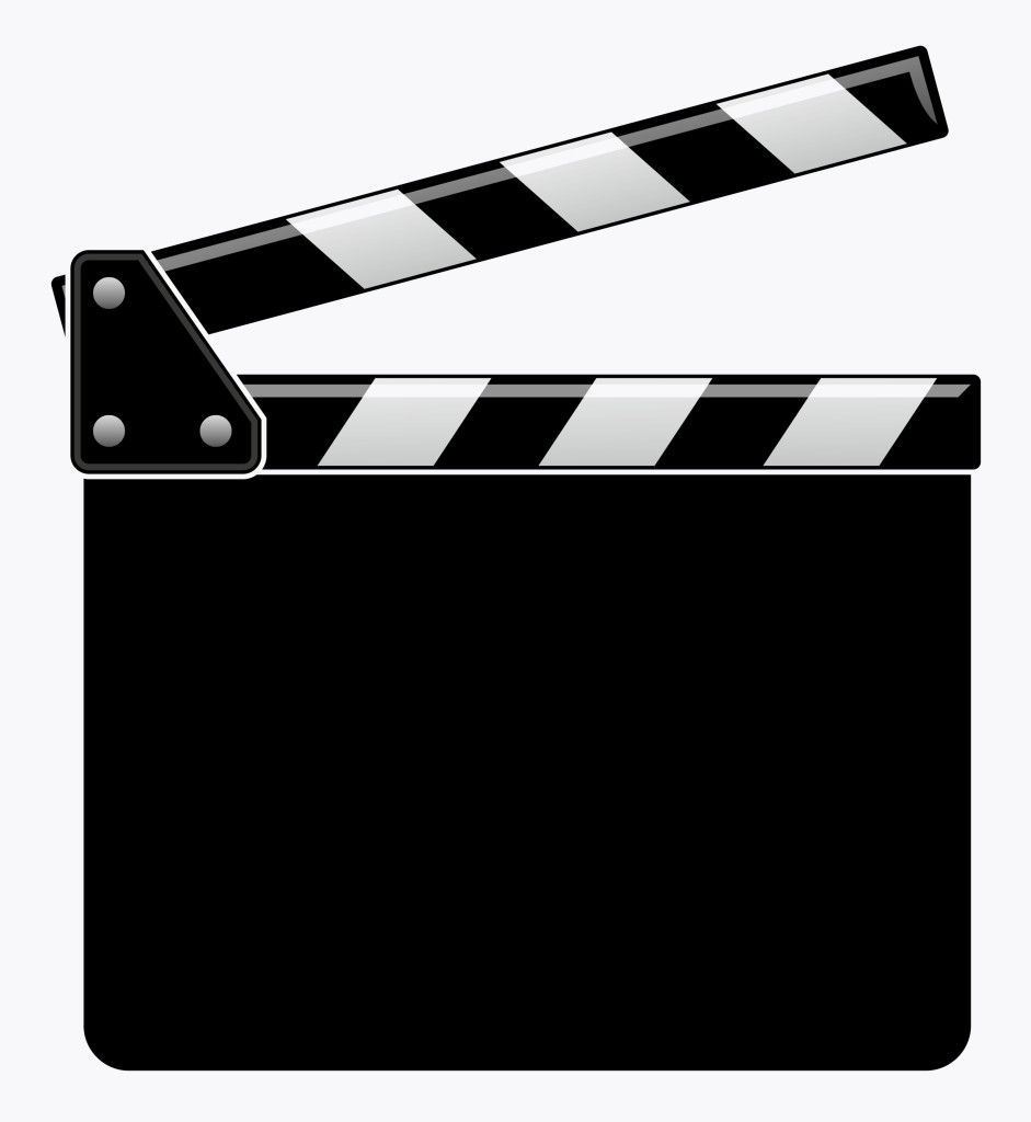 Black and white illustration of clapperboard