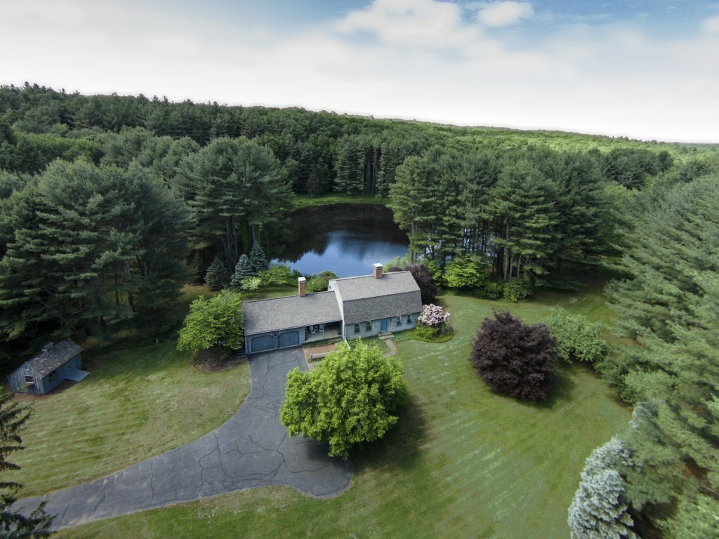 Front Aerial of Home and Private Pond