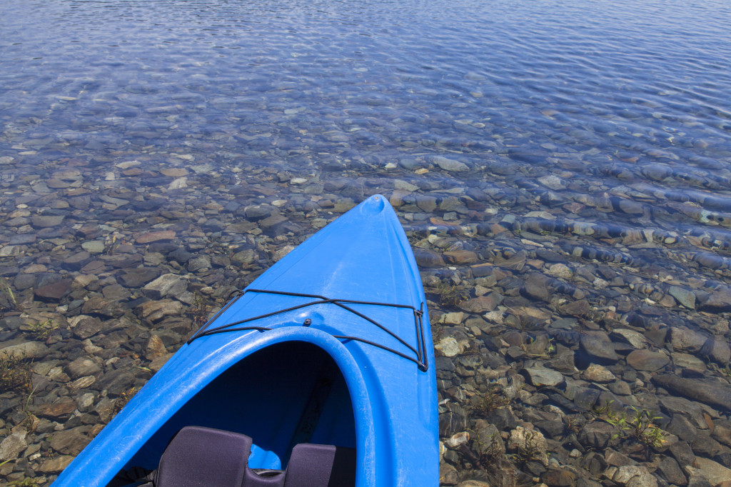 A Blue kayak in the lake.